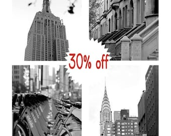 New York photography set, black and white 4 8x10 nyc prints, New York City skyline architecture Empire State, Chrysler building, urban decor