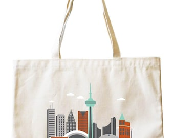 City Living Tote bag - Toronto - Canada - Market bag - Reusable bag - Canvas tote - Shopping bag - Shoulder bag - Organic