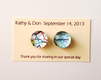 Custom Wedding Favor - Vintage Map Magnets- 2 magnets per pack QUANTITY 25