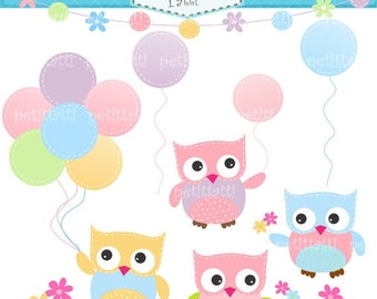 ON SALE Baby owls clip art, balloons clip art - Digital clip art, Owls and Balloons, instant download clip art