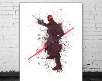 Star Wars Darth Maul Poster Design Print Wall Art Boys Room Decor, Star Wars Sith Lord, Sith Lightsaber Poster Watercolor Art Print Download