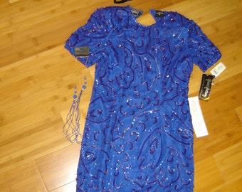 20's  flapper blue sequined beaded  silk dress Halloween GATSBY COSTUME womens sz 10 access