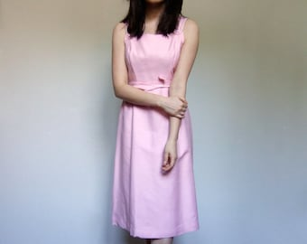 1960s Pastel Pink Dress Vintage Simple Sundress 60s Casual Summer Sun Dress - Extra Small XS