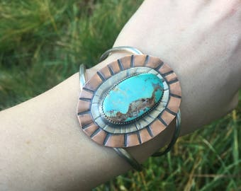 Sterling Silver, Copper & RoystonTurquoise Cuff Bracelet size S/M (5.5 in)
