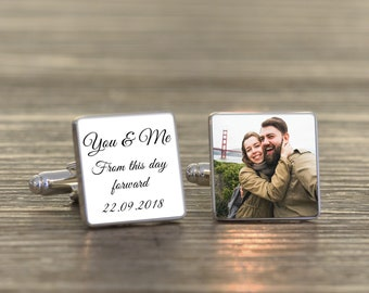 Personalised Silver Plated Photo You and Me Bride and Groom Wedding Cuff links Gift Boxed