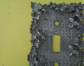 Vintage Bronze Floral 1967 American Tack & Hdwe Co Floral switch plate outlet wall switch