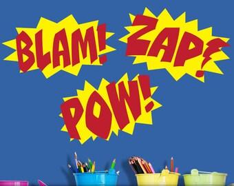 Superhero Wall Decor Vinyl Decals, Comic Book Sound Effect Bursts, Blam, Zap, Pow, Superhero Boys, Girls, Kids