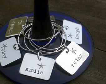 Personalized Sterling Wine Charms by donnaodesigns