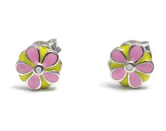 Pink floral Stud Earrings 925 sterling silver