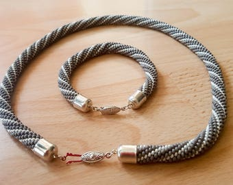 Grey/White Beaded Rope Necklace