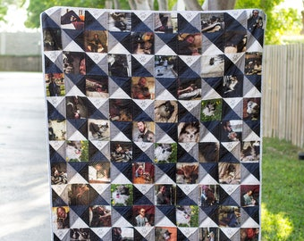 Photo Squares and Triangles Quilt