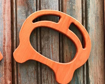 "European Beech ""GEOMETRIC"" Wood Teething Ring + Modern Minimal+ Gripping Toy+ Lovie Blanket+ Silicone Teether+"
