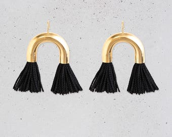 NEW Arch Tassel Statement Earrings / short black fringe / gold tube / fun party jewelry / fashion gift for her