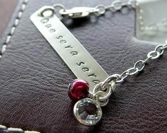 "Personalized Bracelet - ""Que Sera Sera"" Sterling Silver Hand Stamped Jewelry - Custom 1.5"" Bar Bracelet with Optional Birthstone and Pearl"