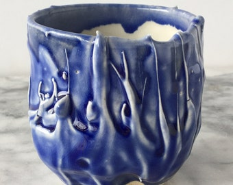 Stoneware cup yunomi teacup with porcelain drips, wabi sabi drinking vessel light blue glazed pottery tumbler