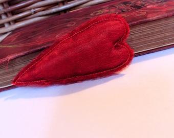 Primitive heart brooch, love heart brooch, heart pin, valentines gift, brooch