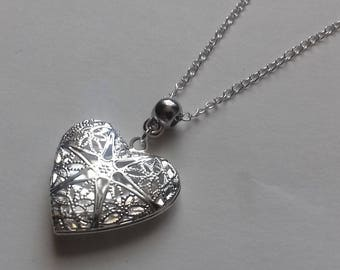 Heart Locket Necklace , Filigree Heart Necklace , Silver Necklace , Silver Heart Necklace , Mother Gift , Girlfriend Gift , Handmade Gift