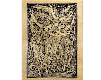 The Angels - Christmas Mounted rubber stamp, detailed angel, Heaven, Sweet Grass Stamps No.13
