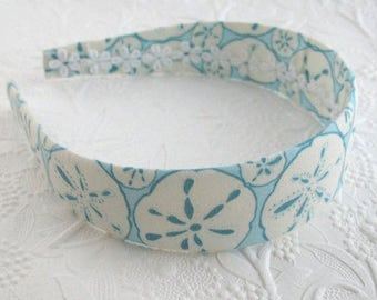 Nautical Fabric Women's Headband, Fabric Covered Hard Headband, Seashell Pattern, Wide Plastic Headband for Girls through Adults