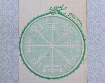 "Vegvisir Viking Compass with Midgard Serpent 8"" x 6"" (20 x 15 cm)"