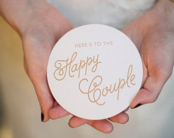 Here's to the Happy Couple Letterpress Coasters - Set of Ten