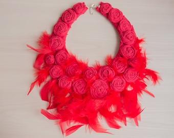 Wedding Collar Red Feather Statement Bib Necklace Best Bridal Necklace Wedding Alternative Wedding Feather Fabric Rose Old Hollywood Fashion