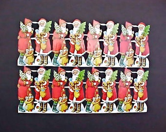 16 Vintage German Santa Claus Scrap Sheet