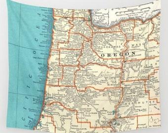 Oregon Coast map Fleece Blanket throw - cozy, sofa, couch, bed, travel decor, minimal, soft,  winter, warm, wanderlust, beach blanket