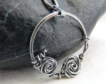 Wire wrapped pendant, Sterling silver Rose pendant, Wire Wrapped necklace, handmade wire wrapped Rose pendant