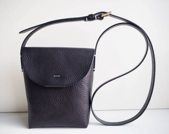 Small Leather Crossbody Bag, Leather Shoulder Bag, Leather Weekend Bag, Leather Bag - Black
