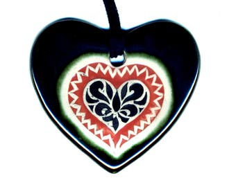Radical Heart Ceramic Necklace in Red and Black