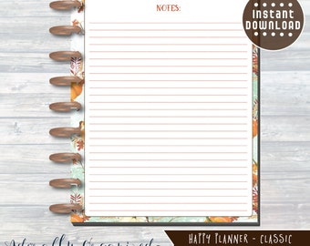 HAPPY PLANNER PRINTABLE Notes Planner Pages / Inserts - 7 x 9.25 | Autumn Harvest | Create 365 | Me & My Big Ideas | mambi | Notes Page