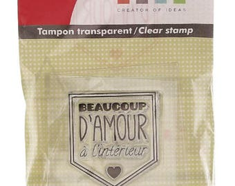Kit tampon clear acrylic block - lots of love inside the heart - 3.5 x 3 cm