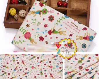 1 x coupon 50x145cm pattern print rabbit white pure linen fabric