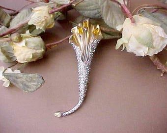 Beautiful Art Deco Era Rhinestone Lily Brooch