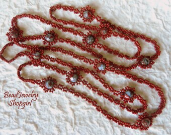 Red Beadwoven Long Necklace with Czech Glass Beads