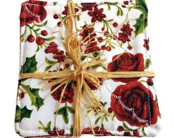 Neue doppelseitige Stoff Untersetzer / / Geschenk mit Rose / / Mütter Tagesgeschenk / / Leinen Untersetzer / / Set von 4 Untersetzer / / romantische Housewarminggeschenk