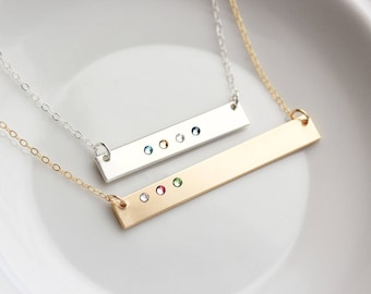 Birthstone Bar Necklace - Mother's Day Gift, Personalized Birthstone Bar Necklace Custom Birthstone Necklace Personalized Gift for Mom Thick