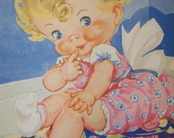 Vintage Ruth Newton Nursery Rhyme Book Print-Little Curly Sue-Book Plate