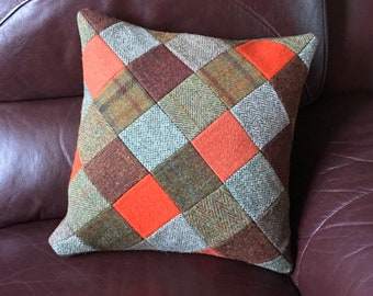 Harris Tweed Patchwork Cushion Cover in brown and orange tones