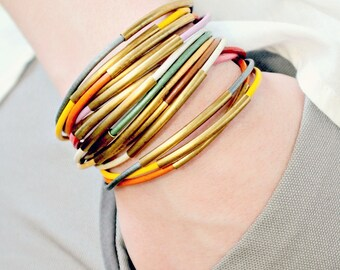 Leather Bangle Bracelet Set of THREE, leather bangles, colorful bangles, holiday gift