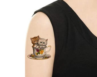 Temporary Tattoo -  Teacups Series / Cats in teacup / Biscuits and teacup / Herbs and teacup / Tattoo Flash