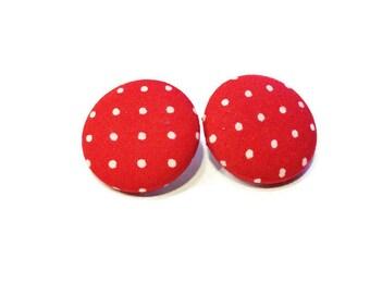 Button earrings, fabric button earrings, ear studs, polka dot earrings, women accessories