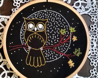 hand embroidery kit, embroidery kit, diy embroidery, diy embroidery kit, embroidery pattern, modern embroidery kit, needlepoint kits, owl