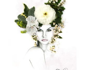 Sonia Floral Fashion Illustration   Mixed Flowers Floral Crown    Wall Art   Illustration & Photography    A4 SIGNED Giclee Print