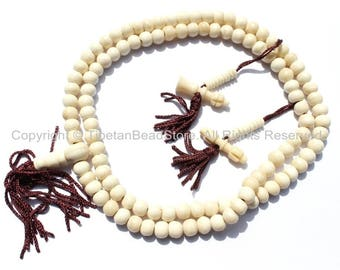 108 beads - Tibetan White Bone Mala Prayer Beads with Bone Bell & Vajra Counters - 8mm - Tibetan Mala Beads - Mala Making Supplies - PB76