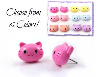 Cat Earrings w/ Stainless Steel Posts - 6 Colors - Kawaii Kitty Cat Jewelry - Cat Face Jewelry - Cute Cartoon Cat Stud Earrings