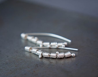 Threader Earrings - Edgy Silver Earrings - Coiled Wire Everyday Earring - Simple  Earrings - Modern Silver Jewelry Gift For Her
