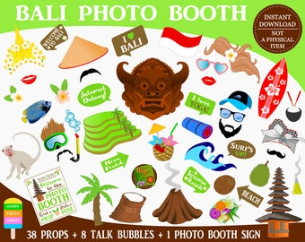 PRINTABLE Bali Photo Booth Props–Indonesia Photo Props-Bali Party Props-Travel Props-Asia Photo Props-Indonesia Props-Instant Download