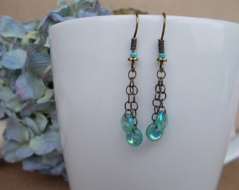 Dainty 5mm Iridesent Aqua Glass Lental Shaped Beads hang off Tiny Antiqued Brass Chains